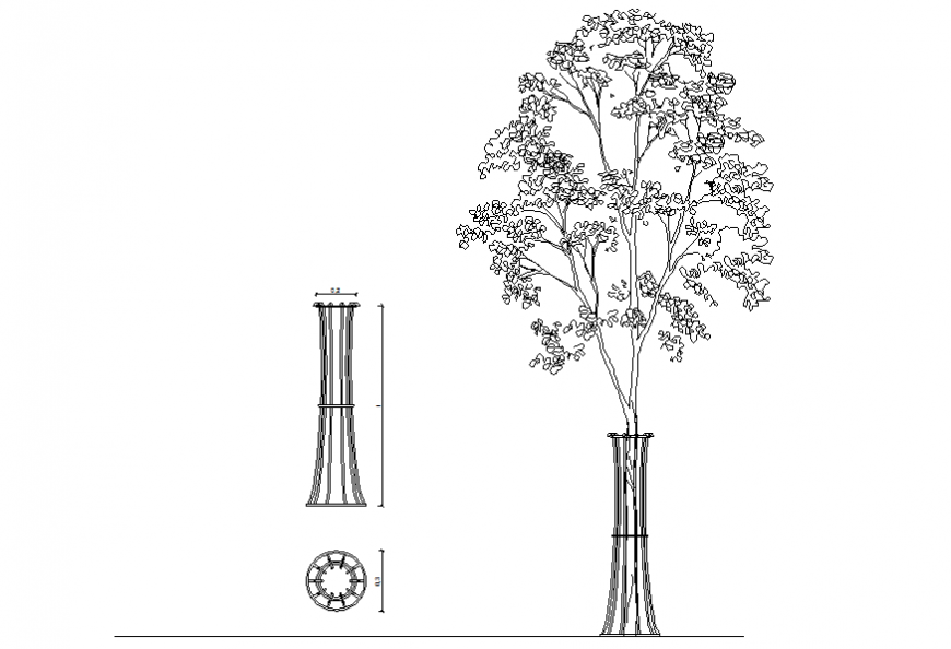 Grid protects trees detail elevation autocad file