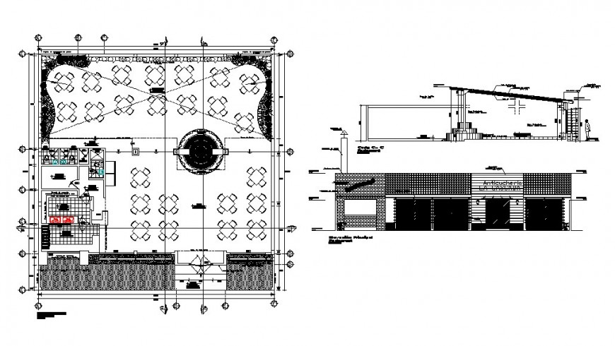 Grill restaurant elevation, section and distribution plan cad drawing details dwg file