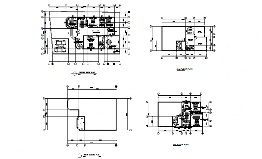 Ground, first, second, roof plan and auto-cad details of one family house dwg file
