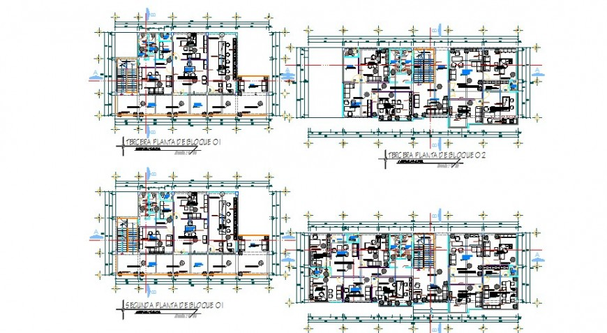 Ground, first, second, third and terrace floor plan details for apartment building dwg file