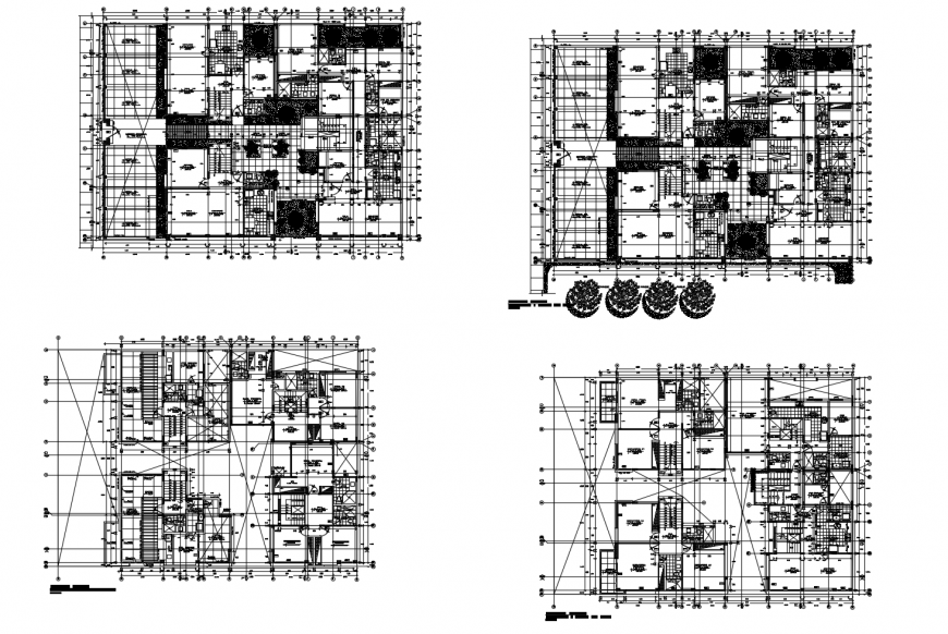 Ground, first, second and third floor layout plan details of apartment building dwg file