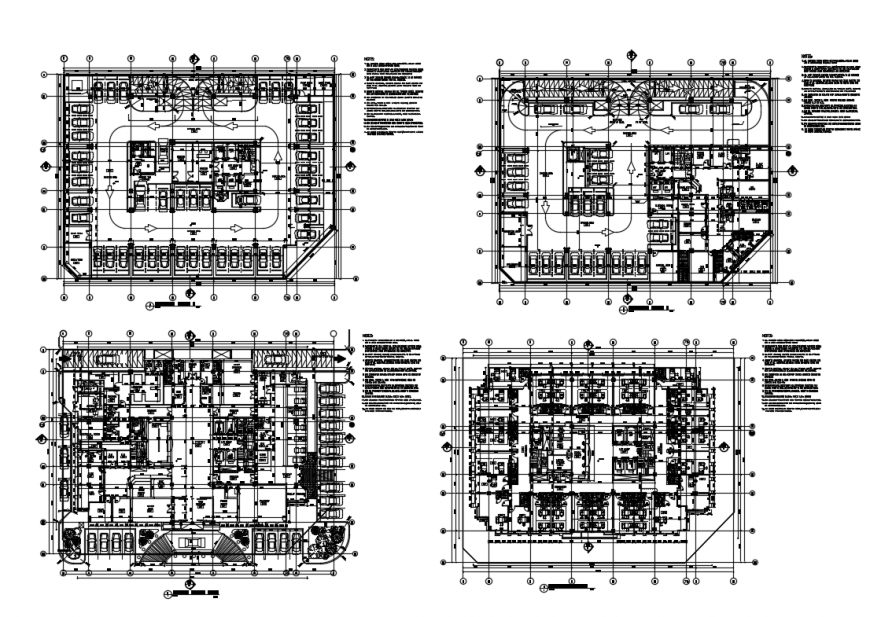 Ground, first, second and third floor layout plan details of multi specialty hospital dwg file