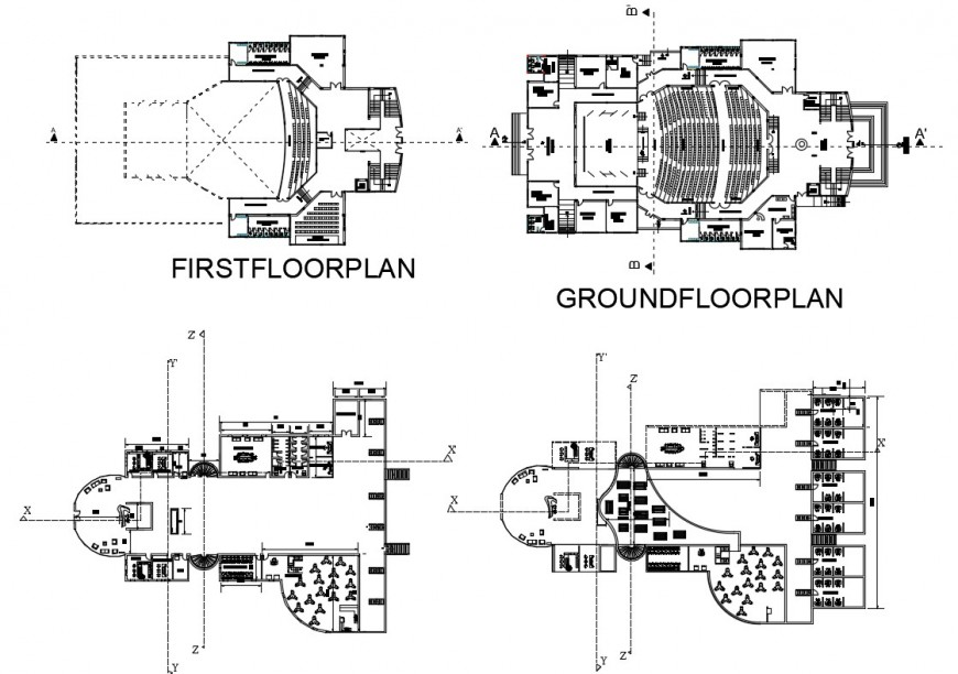 Ground, first, second and third floor plan details of civic center building dwg file