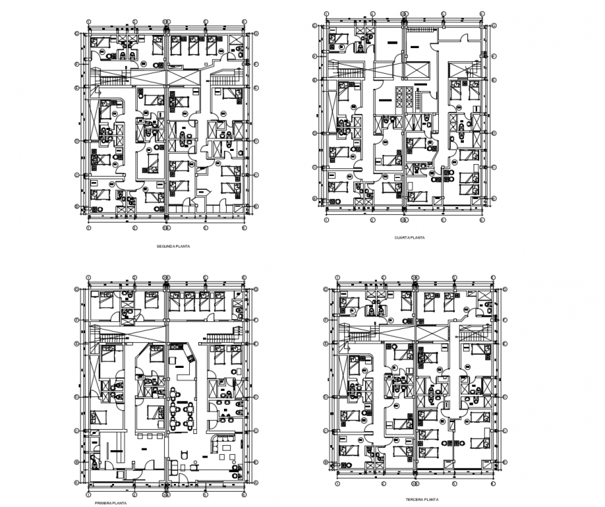 Ground, first, second and top floor layout plan details of hotel building dwg file