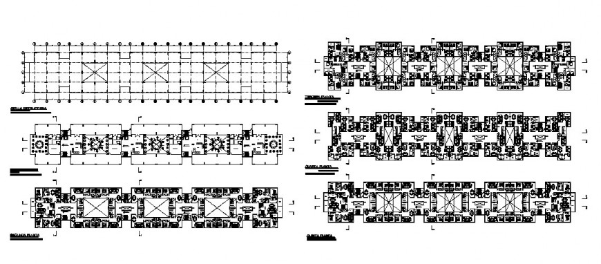 Ground, first, second etc floor plan distribution plan details of multi-family residential building dwg file