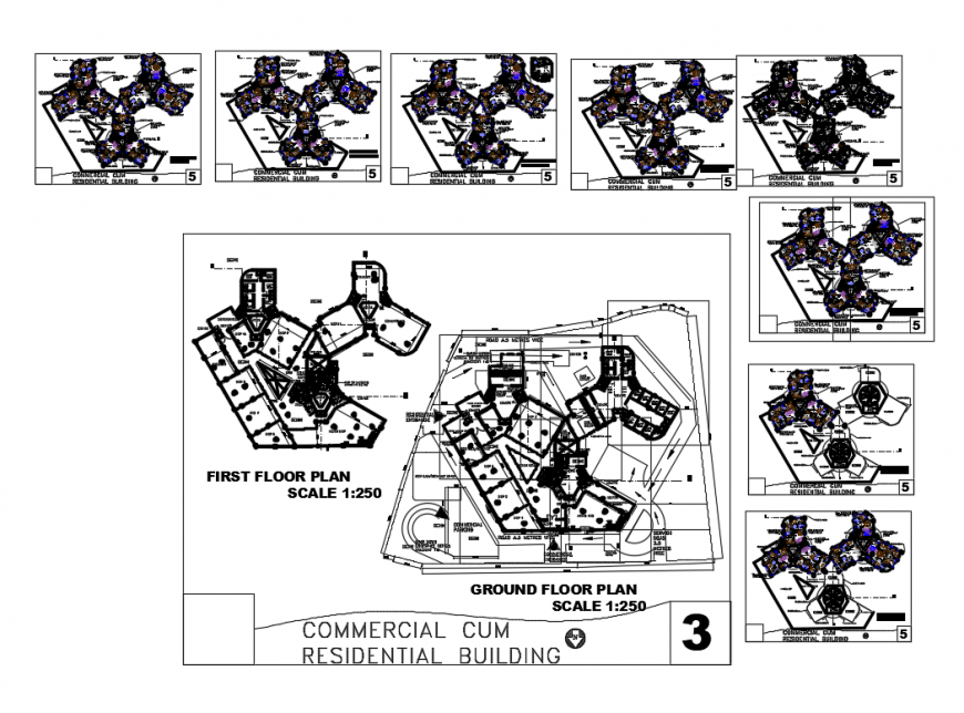 Ground, first, second etc floor plan layout details of multi-family residential building dwg file