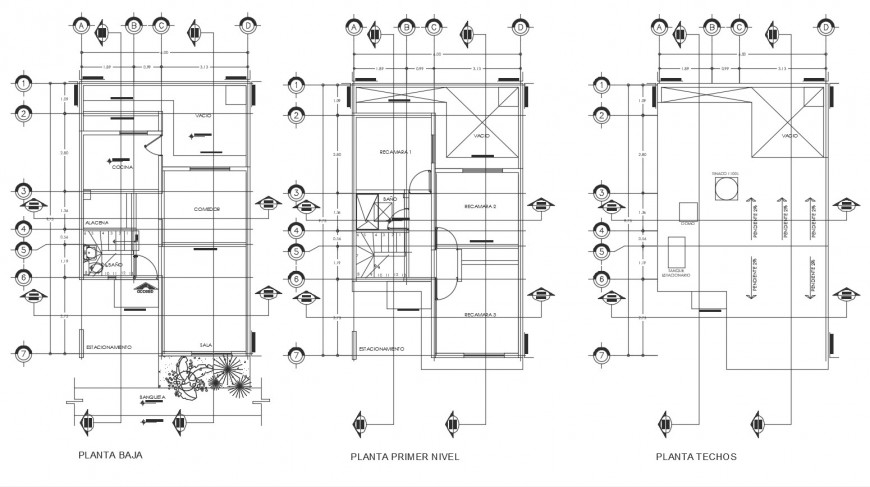 Ground, first and cover plan details of cottage house cad drawing details dwg file