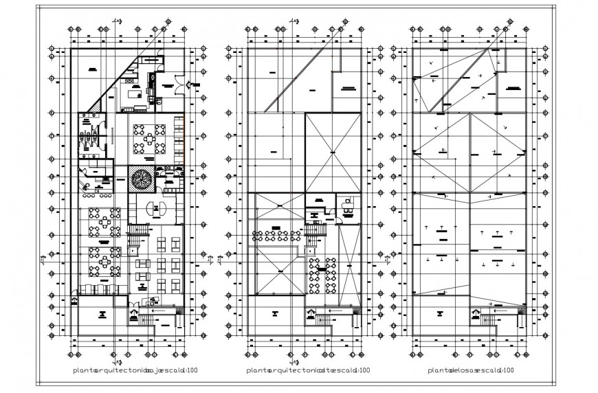 Ground, first and second floor distribution plan details of hotel building dwg file