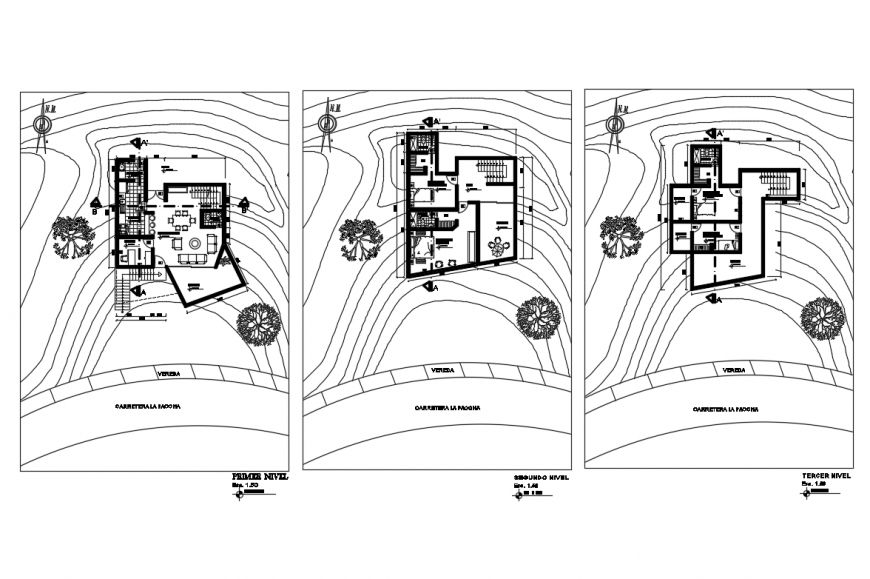 Ground, first and second floor layout plan details of house dwg file