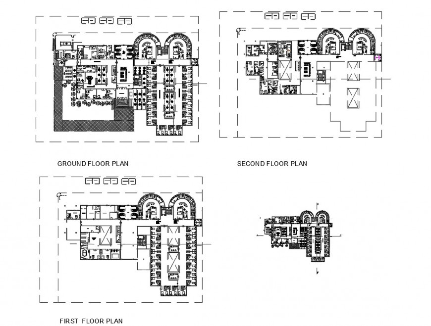 Ground, first and second floor plan details of hospital building dwg file