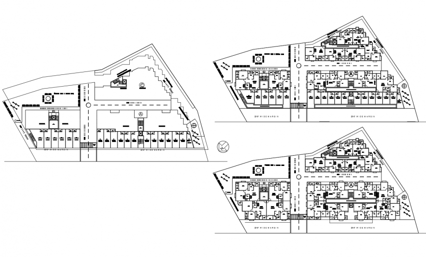 Ground, first and second floor plan details of residential apartment building dwg file