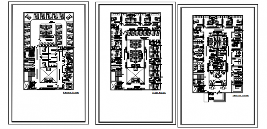 Ground, first and second floor plan drawing details of office building dwg file