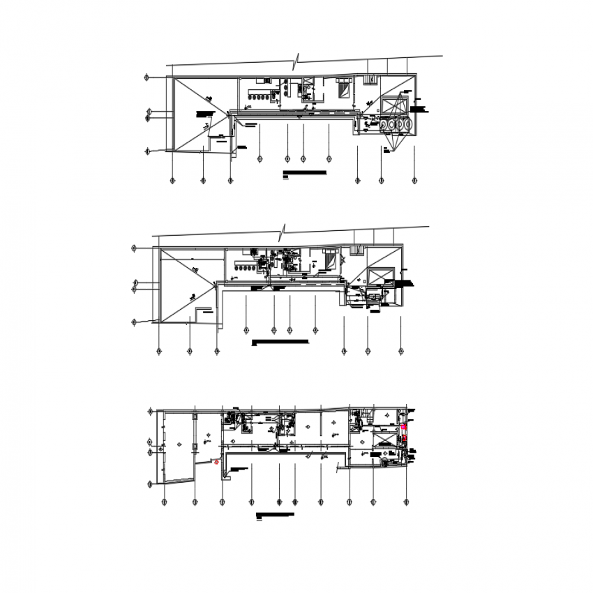 Ground, first and second floors of house sanitary installation details dwg file