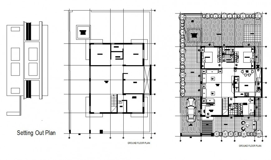 Ground, first and setting layout plan details of luxuries villa dwg file
