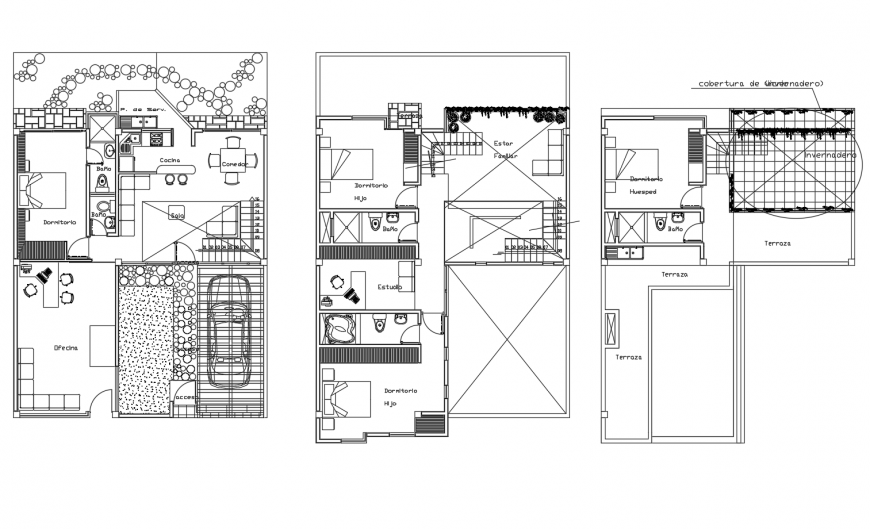Ground, first and terrace floor plan details of beautiful house dwg file