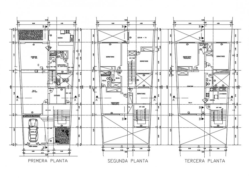 Ground, first and terrace floor plan details of detached house dwg file