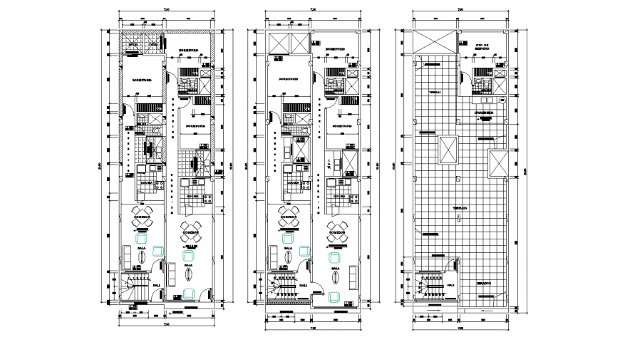Ground, first and terrace floor plan details of house building dwg file