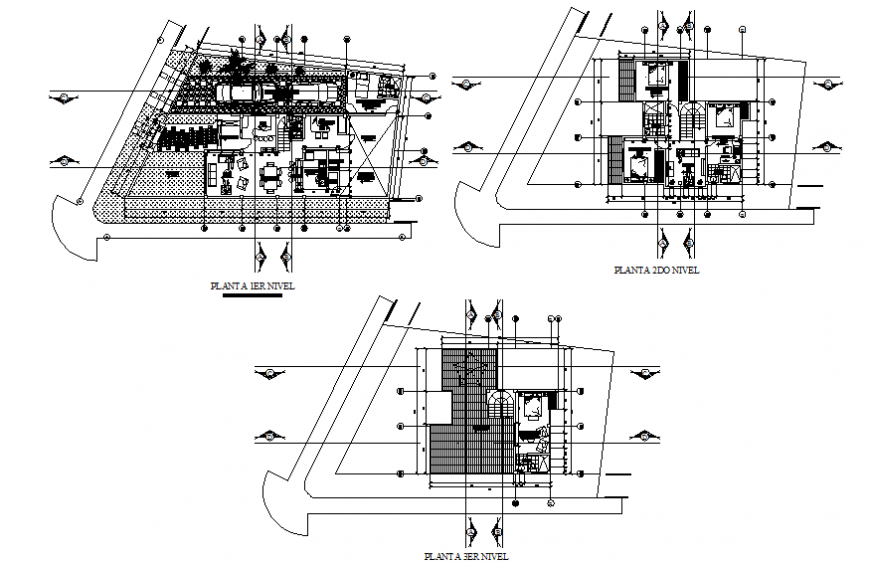 Ground, first and terrace floor plan details of one family house dwg file