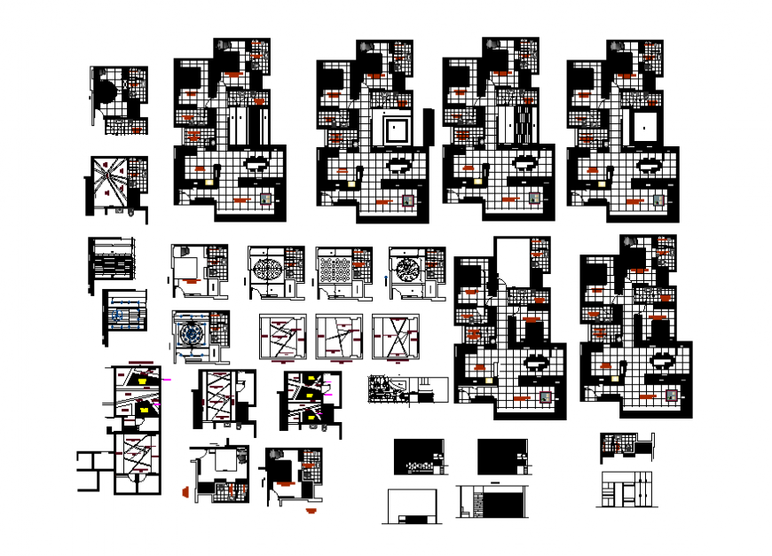 Ground, first and top floor layout plan details of house building dwg file