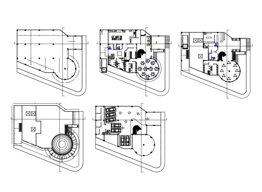 Ground, first and top floor layout plan details of multi-cuisine restaurant dwg file