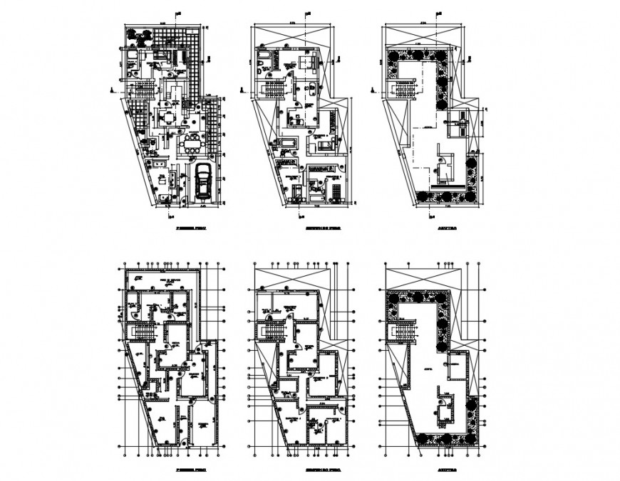 Ground, first floor and second floor plan details of house with framing plan dwg file