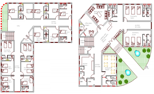 Ground And First Floor Plan Of Guest House For Hospital Staff Dwg File Design Ideas
