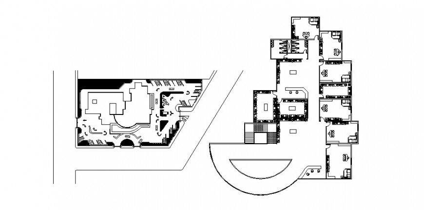 Ground and first floor distribution details of office building dwg file