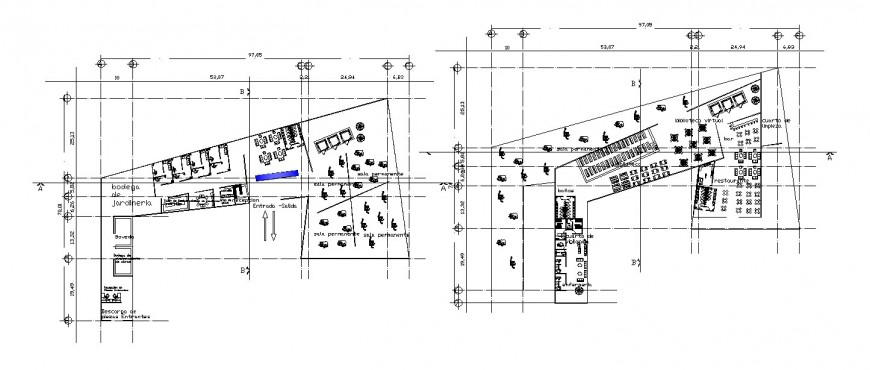 Ground and first floor distribution details of two story restaurant dwg file