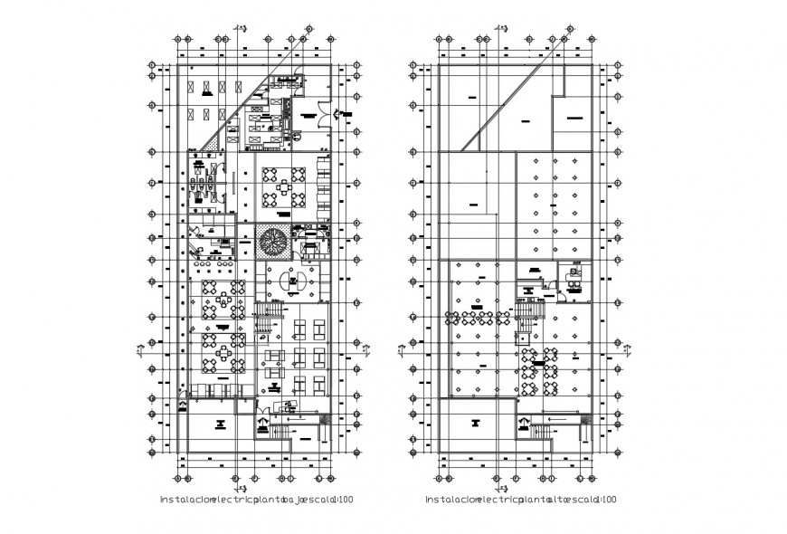 Ground and first floor distribution layout plan details of hotel building dwg file