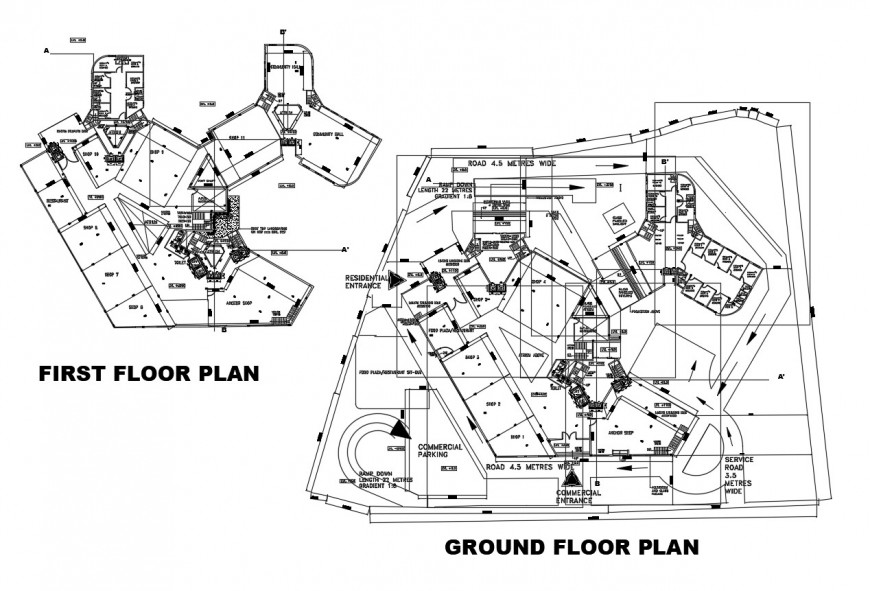 Ground and first floor distribution layout plan details of residential building dwg file