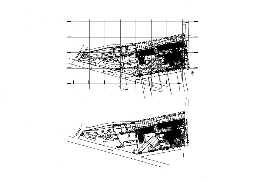 Ground and first floor distribution plan details of hospital building dwg file