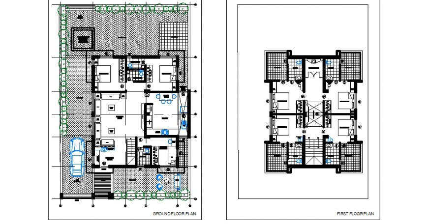 Ground and first floor distribution plan details of luxuries villa dwg file