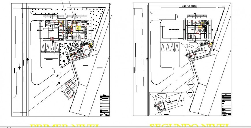 Ground and first floor distribution plan details of office building dwg file