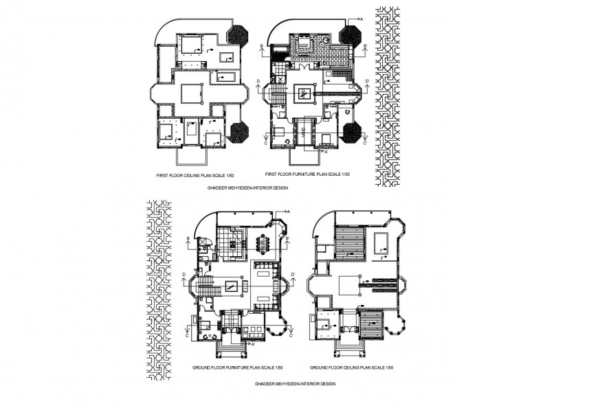 Ground and first floor distribution plan of house with ceiling plan dwg file