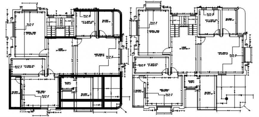 Ground and first floor distribution plan of residential bungalow dwg file
