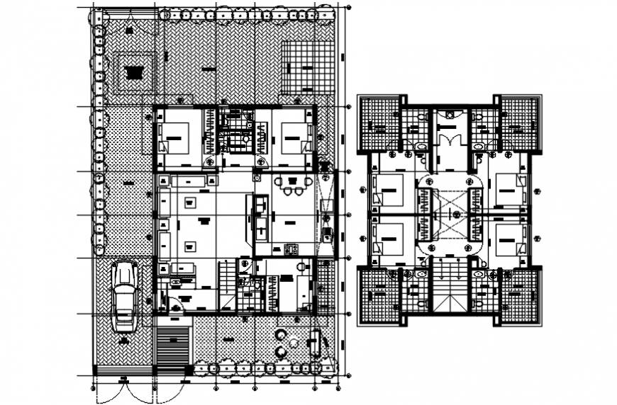 Ground and first floor distribution plan of residential single family house dwg file