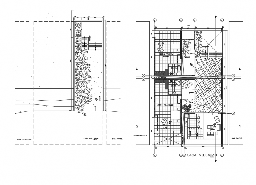 Ground and first floor layout plan details of beach house cad drawing details dwg file