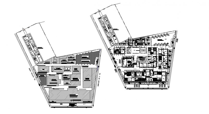 Ground and first floor layout plan details of general hospital dwg file