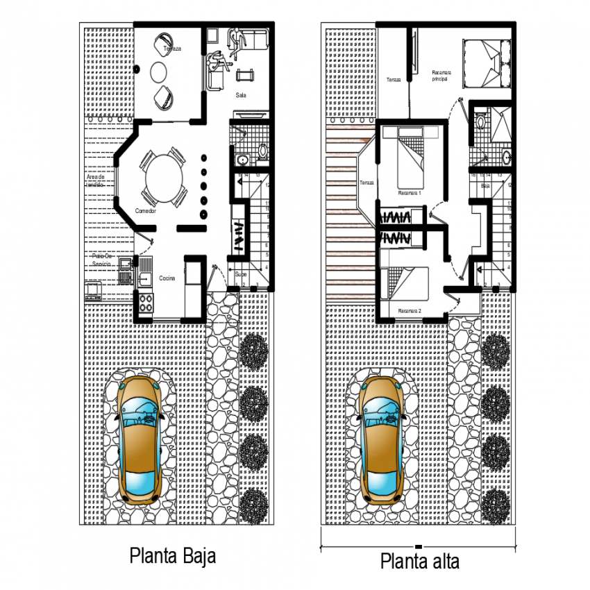 Ground and first floor layout plan details of modern house dwg file