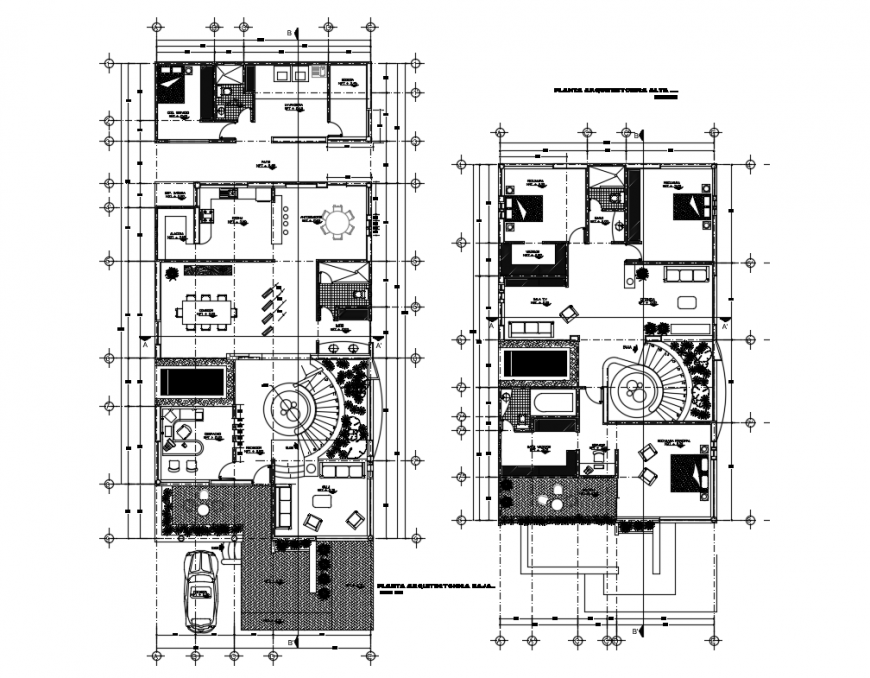 Ground and first floor layout plan details of two flooring dwelling house dwg file