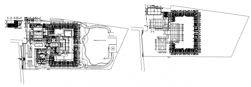 Ground and first floor master layout plan drawing details of luxuries hotel building dwg file
