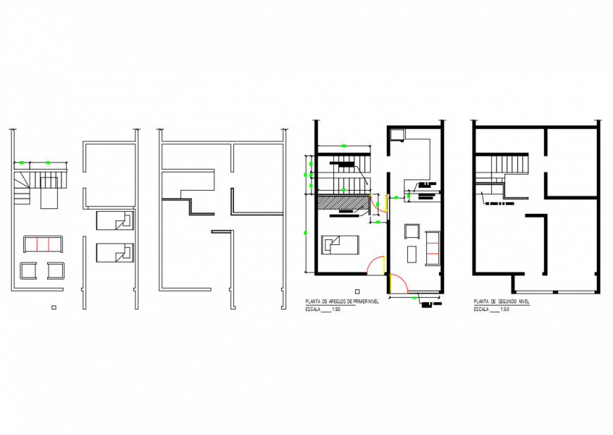 Ground and first floor plan and staircase plan details of house dwg file