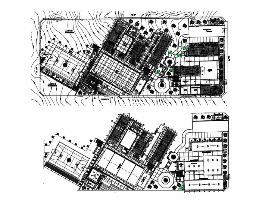 Ground and first floor plan details of college campus building cad drawing details dwg file