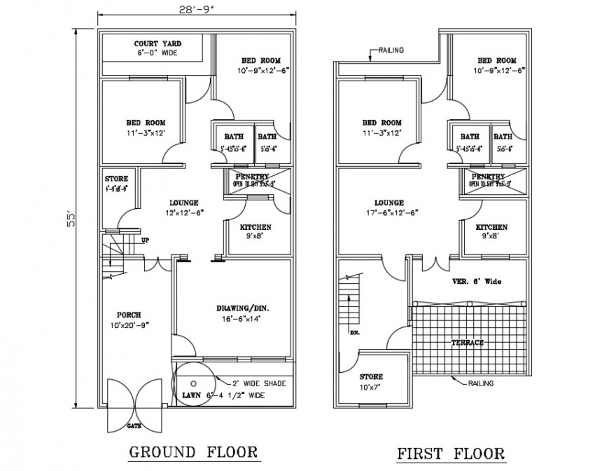 Ground and first floor plan details of four bedroom house dwg file