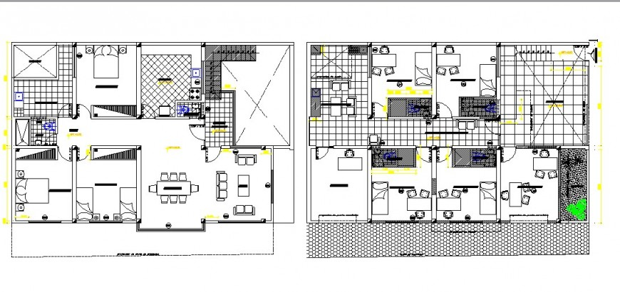 Ground and first floor plan details of hospital with residence dwg file