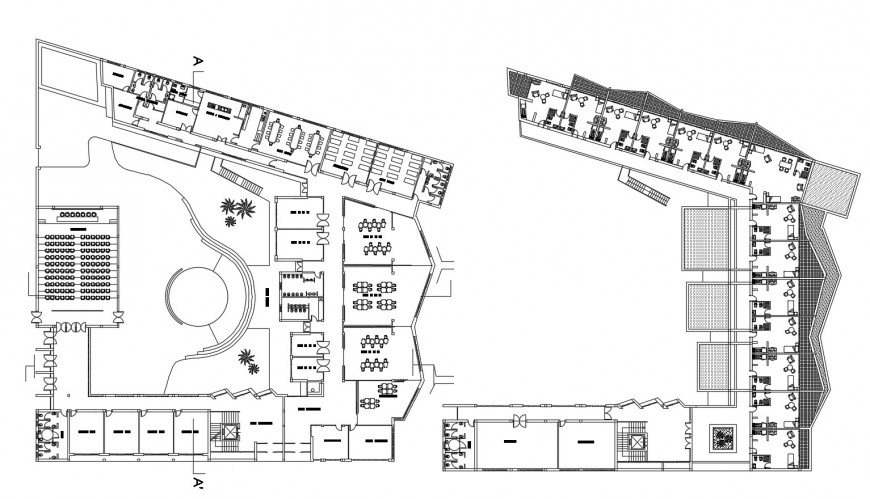 Ground and first floor plan details of kinder garden school building dwg file