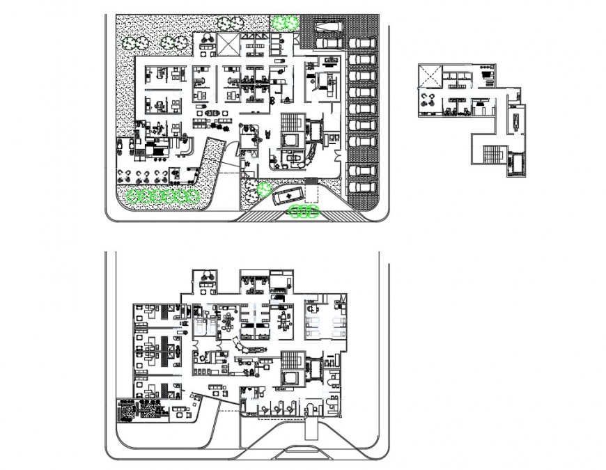 Ground and first floor plan details of multi-specialty hospital dwg file