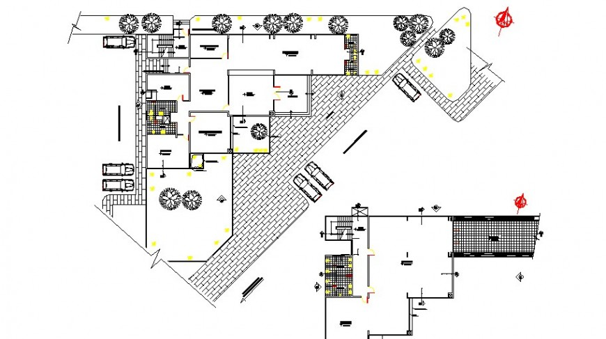 Ground and first floor plan details of office building dwg file