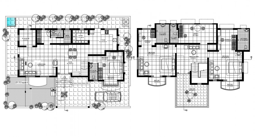 Ground and first floor plan details of one family house with furniture cad drawing details dwg file