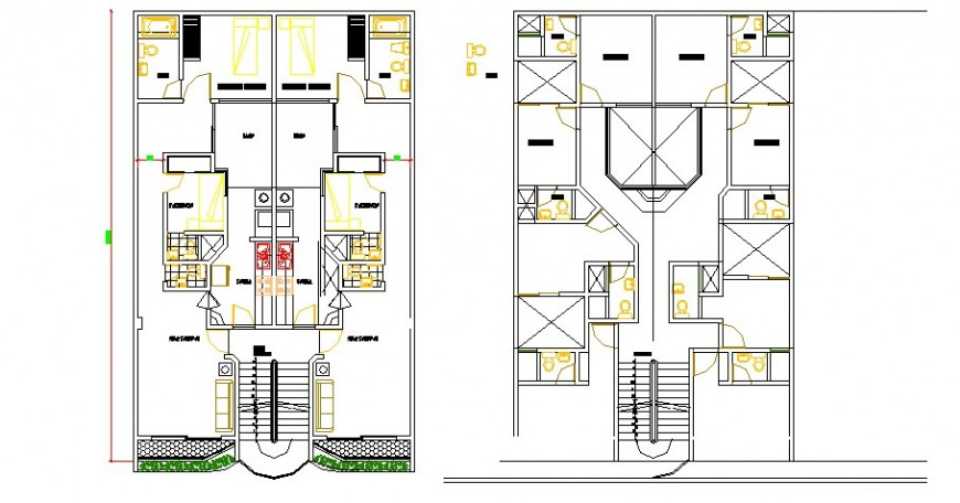 Ground and first floor plan details of residential house dwg file